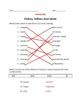 Prefixes, Suffixes, Root Assessment