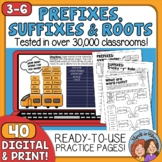 Prefixes and Suffixes, Plus Roots No-Prep Printables
