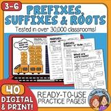 Prefixes and Suffixes, Plus Roots No-Prep Printables