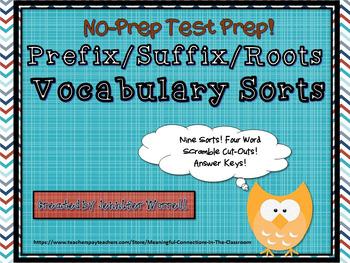 Prefixes/Suffixes/Roots Vocabulary Sorts