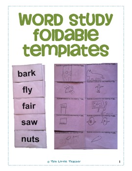 Word Study Foldable Templates for Grades 2, 3, 4 by This Little ...