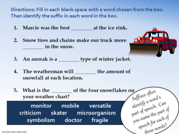 Prefixes, Suffixes, Synonyms, Antonyms - Winter Vocabulary Practice