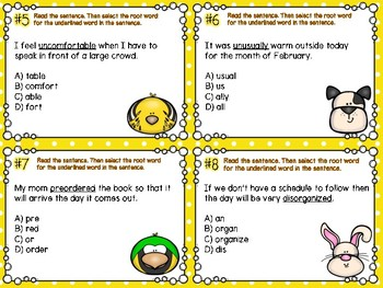 Prefixes & Suffixes Task Cards