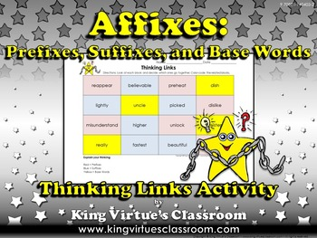Prefixes, Suffixes, and Base Words Thinking Links Activity - King Virtue