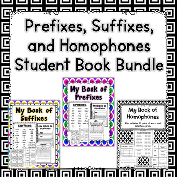Prefixes, Suffixes, and Homophone Student Books