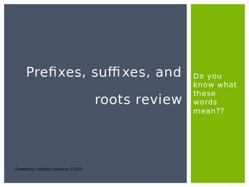 Prefixes, Suffixes and Root State Test Review (editable)