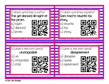 Prefixes, Suffixes, and Root Words QR Code Cards and Task Cards