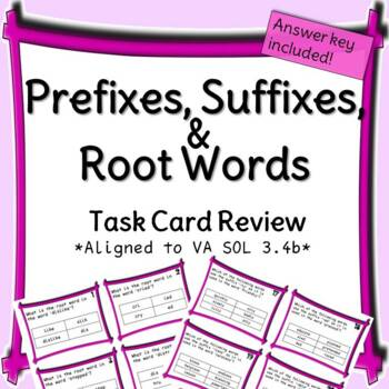 Prefixes, Suffixes, and Root Words Task Card Practice
