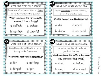 Prefixes, Suffixes and Root Words Task Cards