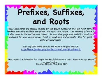 Prefixes, Suffixes and Roots