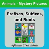 Prefixes, Suffixes, and Roots - Animals Mystery Pictures |