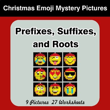 Prefixes, Suffixes, and Roots - Christmas Emoji Mystery Pictures | Color by Code