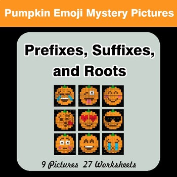 Prefixes, Suffixes, and Roots - Halloween Emoji Mystery Pictures | Color by Code