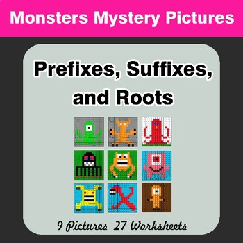 Prefixes, Suffixes, and Roots - Monsters Mystery Pictures | Color by Code