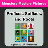 Prefixes, Suffixes, and Roots - Monsters Mystery Pictures
