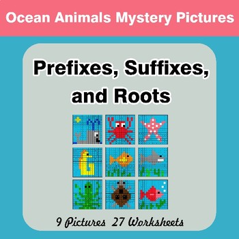 Prefixes, Suffixes, and Roots - Ocean Animals Mystery Pictures | Color by Code