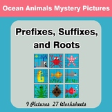 Prefixes, Suffixes, and Roots - Ocean Animals Mystery Pict