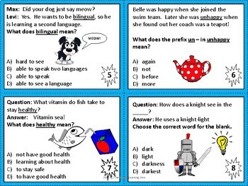 Prefixes, Suffixes, and Roots Task Cards {Free - First 8 cards}