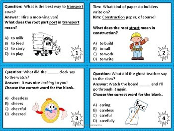 Prefixes, Suffixes, and Roots Task Cards FREEBIE