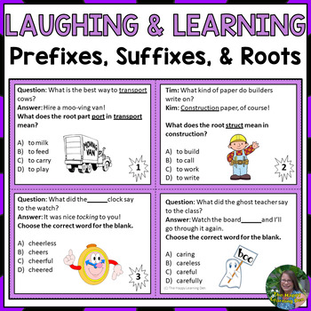 Prefixes, Suffixes, and Roots, Oh My!  Learning and Laughing with Task Cards