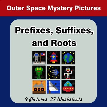 Prefixes, Suffixes, and Roots - Outer Space Mystery Pictures | Color by Code