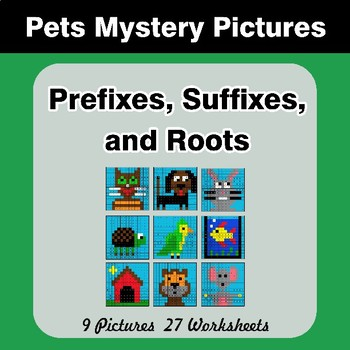 Prefixes, Suffixes, and Roots - Pets Mystery Pictures | Color by Code