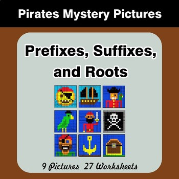 Prefixes, Suffixes, and Roots - Pirates Mystery Pictures | Color by Code