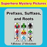Prefixes, Suffixes, and Roots - Superhero Mystery Pictures