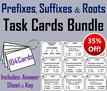 Prefixes, Suffixes and Roots Task Cards 3rd 4th 5th 6th Grade Affixes
