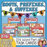 Prefixes, Suffixes, and Roots Task Card Bundle Print or Us