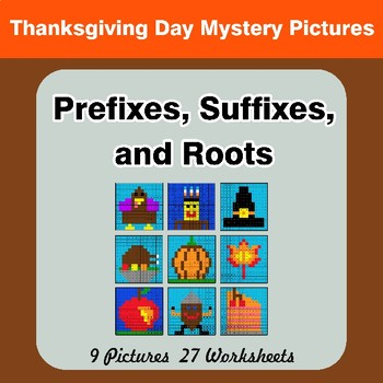 Prefixes, Suffixes, and Roots - Thanksgiving Mystery Pictures | Color by Code