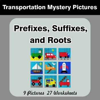 Prefixes, Suffixes, and Roots - Transportation Mystery Pictures   Color by Code