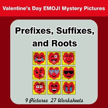 Prefixes, Suffixes, and Roots - Valentine's Day Emoji Mystery Pictures