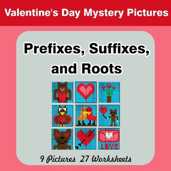 Prefixes, Suffixes, and Roots - Valentine's Day Mystery Pictures   Color by Code
