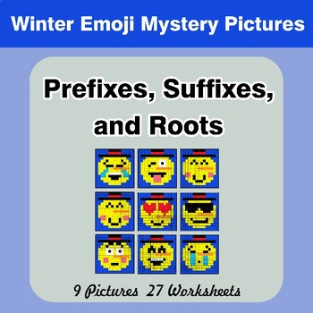 Prefixes, Suffixes, and Roots - Winter Emoji Mystery Pictures   Color by Code