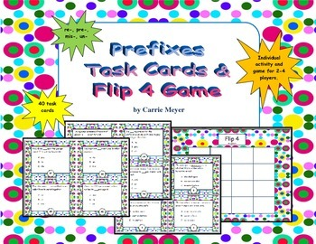 Prefixes Task Cards & Flip 4 Game