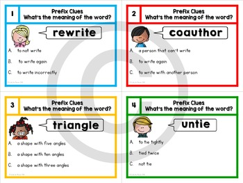 Prefixes Task Cards - What's the meaning of the word?