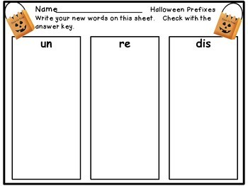 Prefixes - Trick or Treat Theme