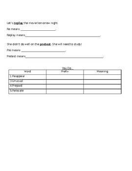 Prefixes Un, Re and Pre Review