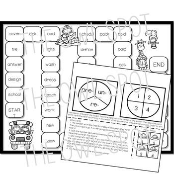 Prefixes Word Sorts and Board Game - Pre, Re, Un