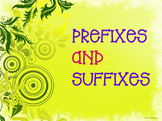 Prefixes and Suffixes - Green Swirls (EDITABLE)