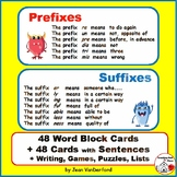 Prefixes & Suffixes | TASK CARDS | Writing | Puzzles | Gra