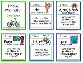Prefixes and Suffixes 'I Have Who Has' Game