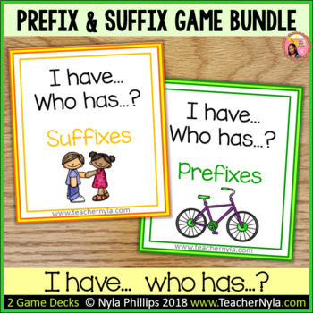 Prefixes and Suffixes 'I Have Who Has' Game Bundle