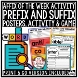 Affix Worksheet- Prefixes and Suffixes Activities Game: Affix of the Day & Week