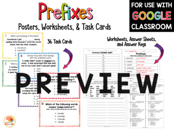 Prefix and Suffix Posters, Task Cards, and Printables