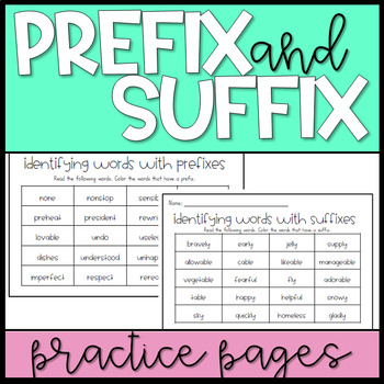 Prefixes and Suffixes Practice Worksheets: Distance Learning Practice