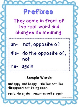 Prefixes and Suffixes Activity