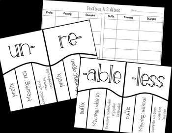 Prefixes and Suffixes Card Matching Game