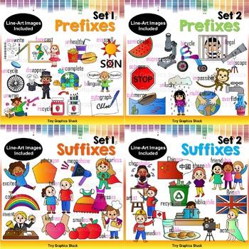 Prefixes and Suffixes Clip Art Bundle
